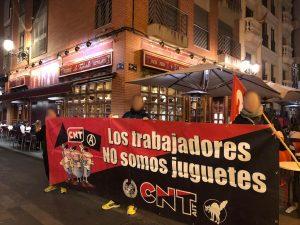 Kundgebung der CNT-IAA bei La Tagliatelle